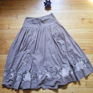 a.n.a A-line Full Skirt Embroidered Hem Tan Size 4